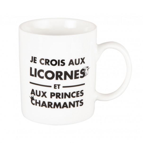 """Mug """"Je crois aux licornes et aux..."""